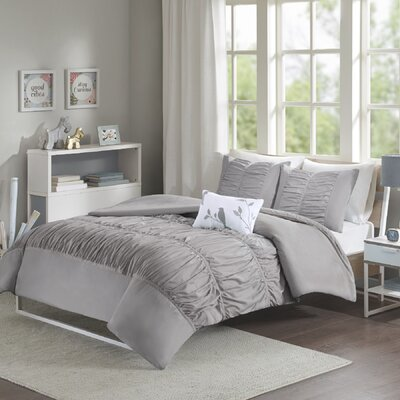 House of Hampton Mincey Reversible Duvet Cover Set Size: Twin / Twin XL, Color: Grey