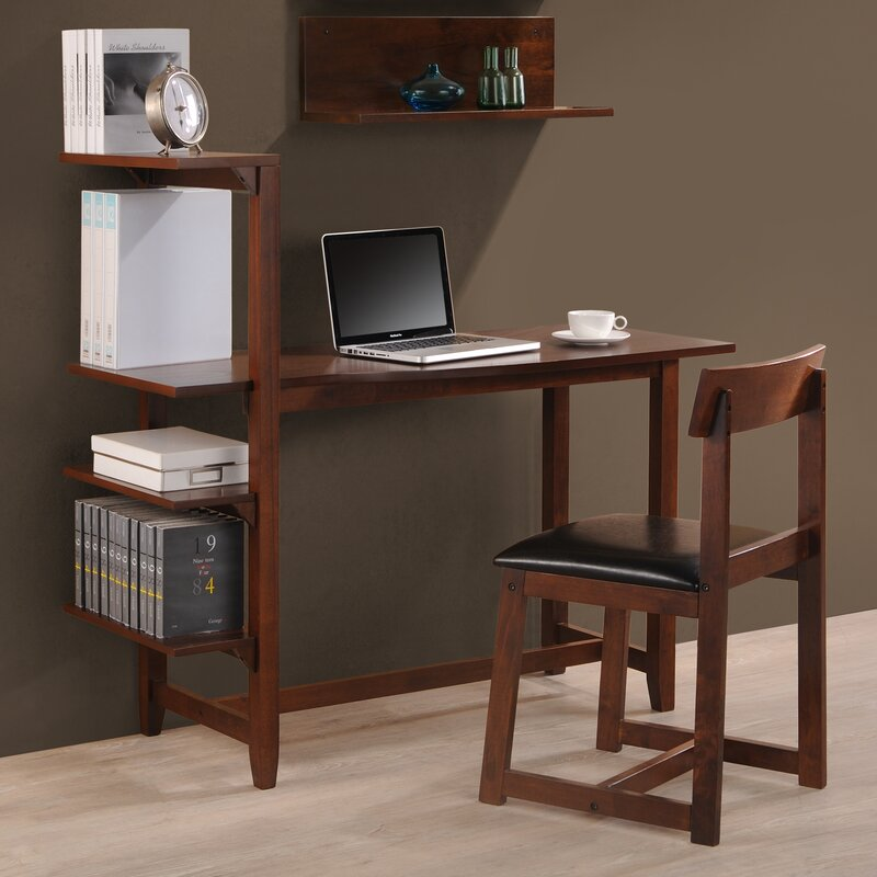 Washington 47 Writing Desk With Side Shelf And Chair
