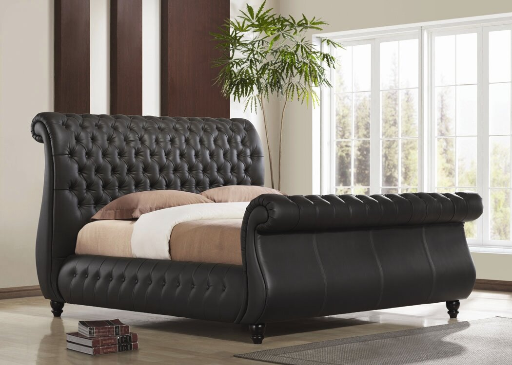 Tufted sleigh bed king - Swan Upholstered Sleigh Bed