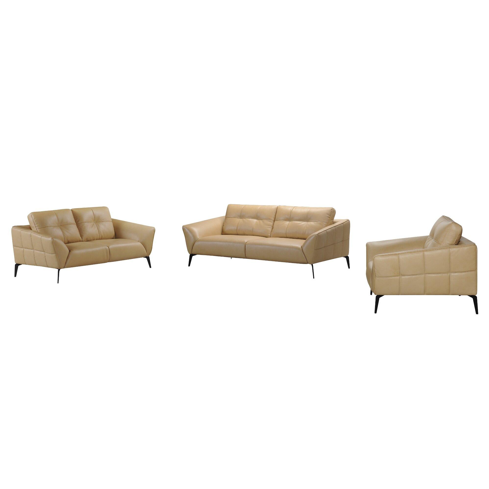 Brayden Studio Aaden 3 Piece Leather Living Room Set | Wayfair