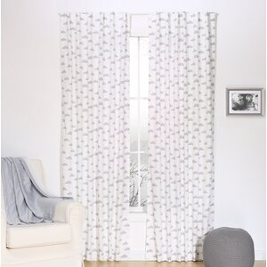 Gray Cloud Graphic Print and Text Blackout Rod Pocket Curtain Panels (Set of 2)