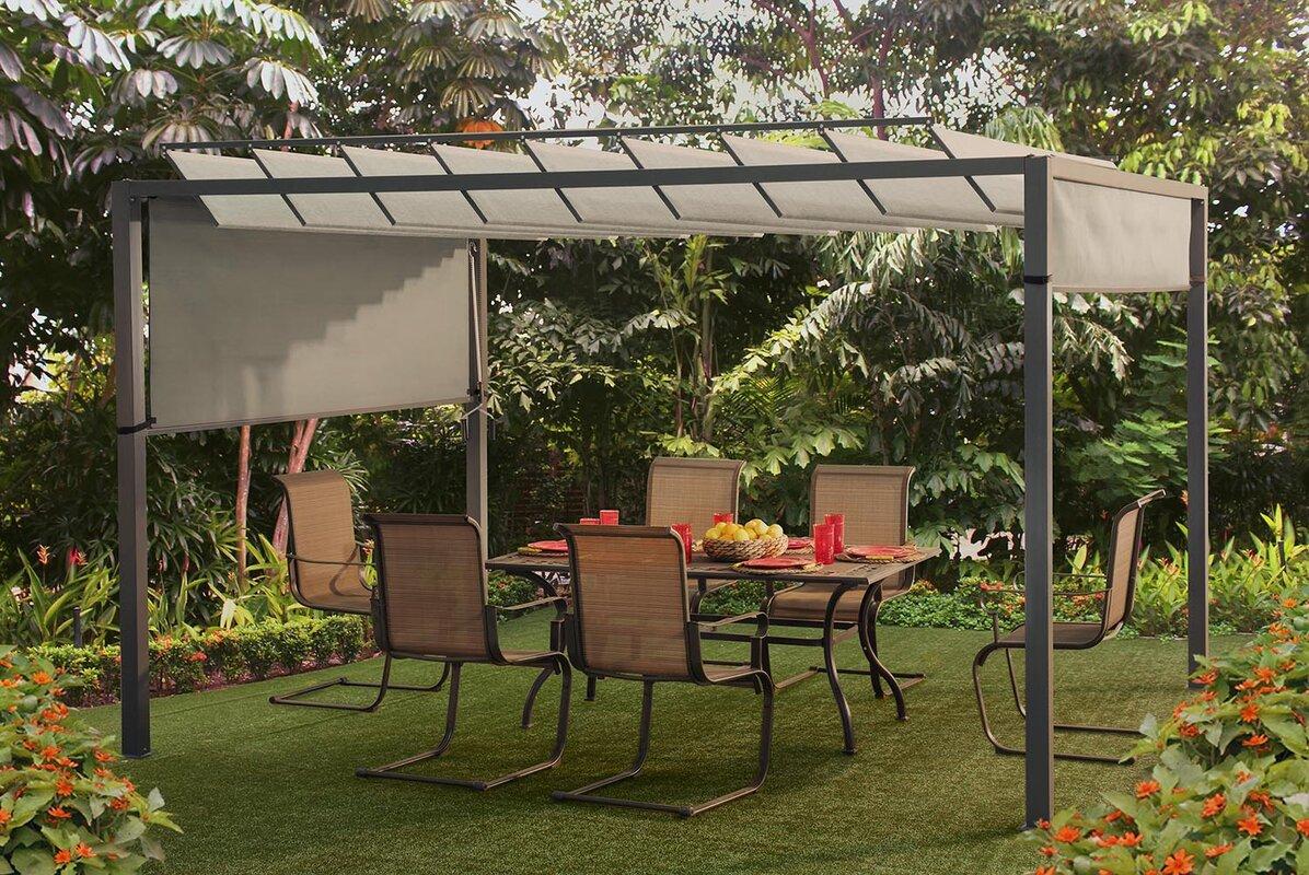 sunjoy louvered 8.5 ft. h x 12 ft. w x 9.5 ft. d pergola & reviews
