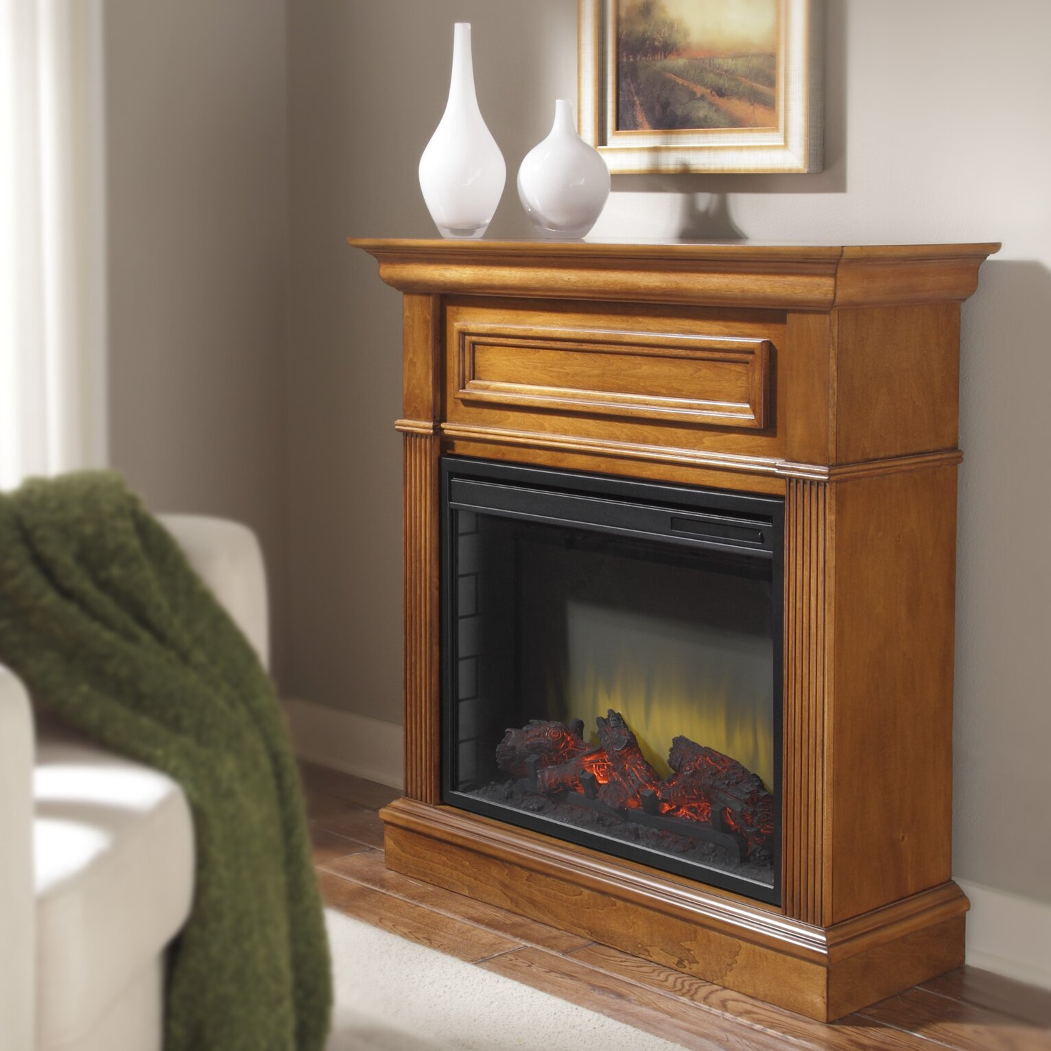 Pleasant Hearth Hawthorne Compact Electric Fireplace Mantle Reviews Wayfair Supply