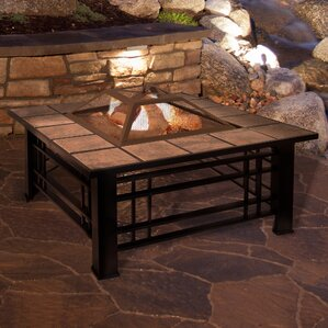 Square Tile Steel Wood Burning Fire Pit Table