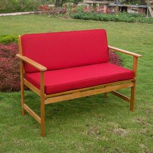 Sabbattus Wood Garden Bench With Cushions