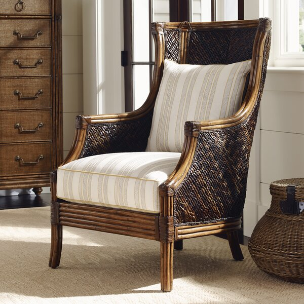 Tommy bahama home bali hai rum beach wing back chair for Bahama towel chaise cover
