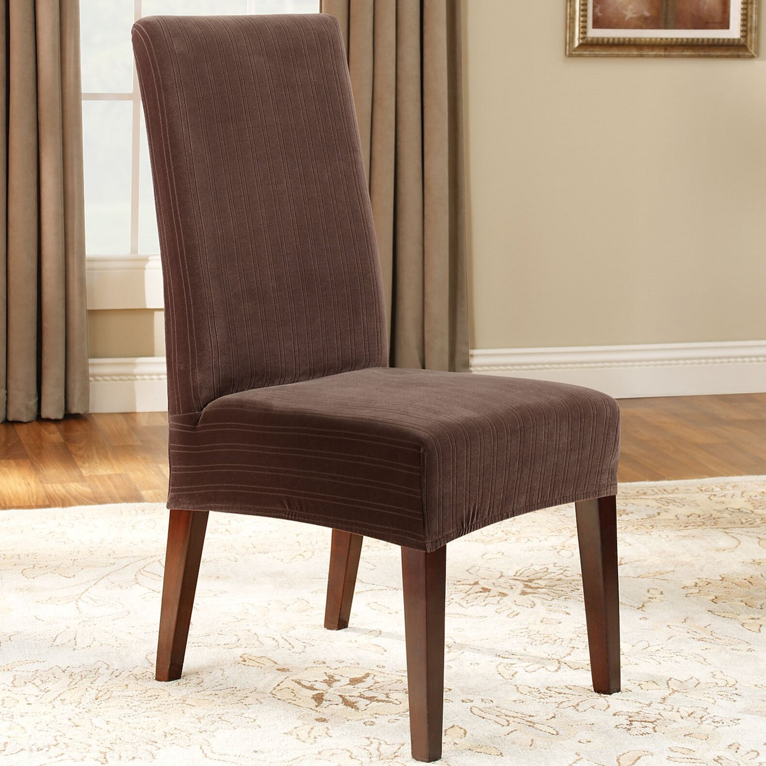 Sure Fit Stretch Pinstripe Dining Chair Slipcover ...