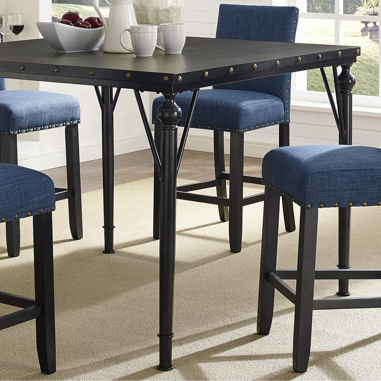 raquel wood counter height 5 piece dining set with fabric nailhead