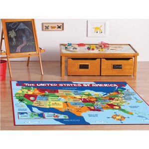 Beautiful My Country USA Map Area Rug
