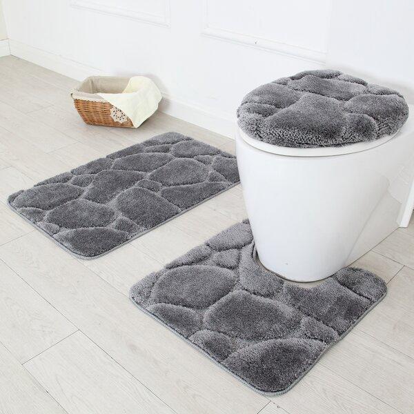 Daniels bath river rock 3 piece bath rug set reviews for River stone bath mat