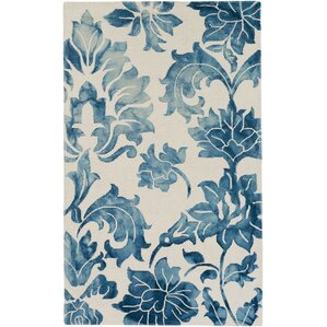Organic Chloe Hand Tufted Navy Blue/White Area Rug