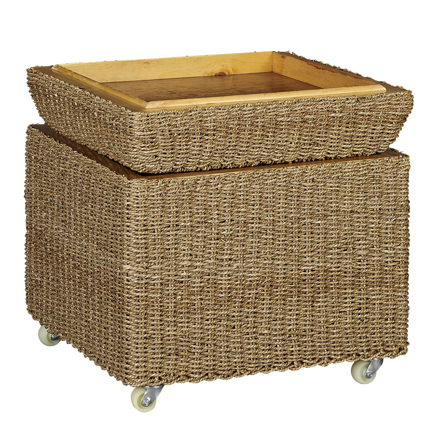 Rolling Seagrass Wicker Storage Seat Ottoman - Household Essentials Rolling Seagrass Wicker Storage Seat Ottoman