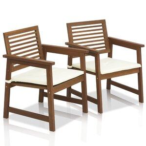 Charming Juna Teak Hardwood Outdoor Chair With Cushion (Set Of 2)