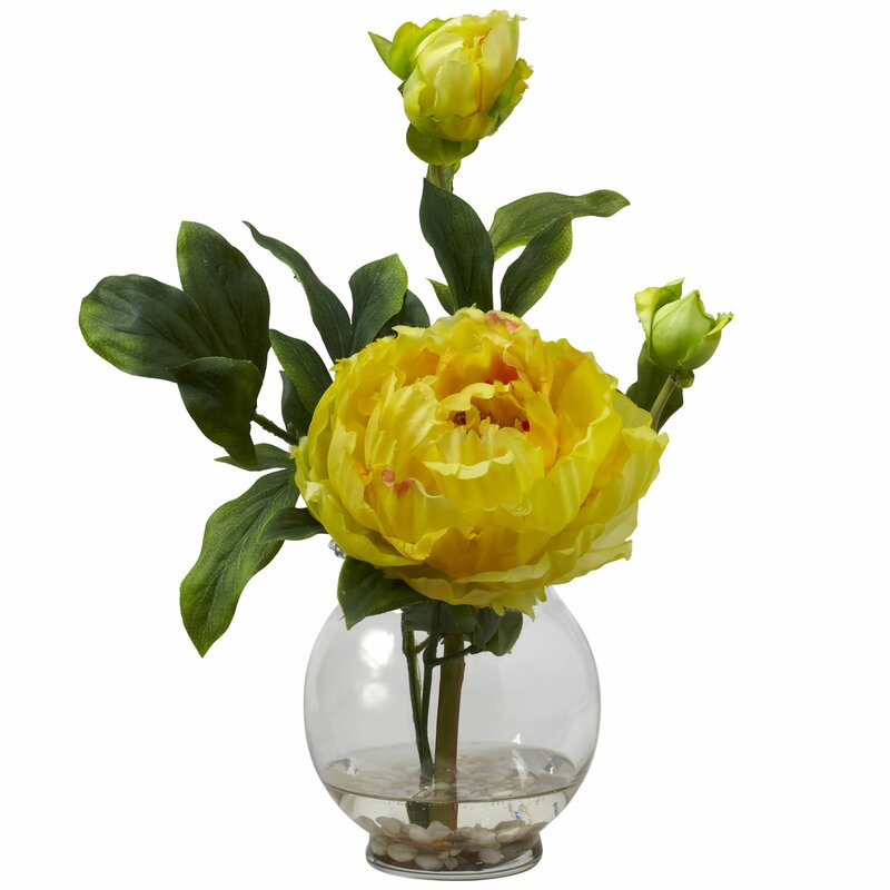 Nearly Natural Peony With Fluted Vase Silk Flower In