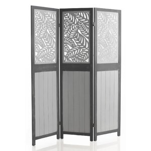 170cm x 134cm Carved Wooden 3 Panel Room Divider
