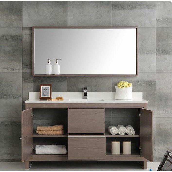 "Mirrored Bathroom Vanity Toronto: Fresca Trieste 60"" Allier Single Modern Sink Bathroom"