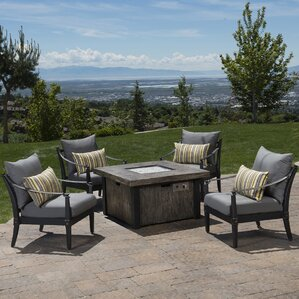 Delightful Portsmouth 5 Piece Fire Pit Set With Cushions