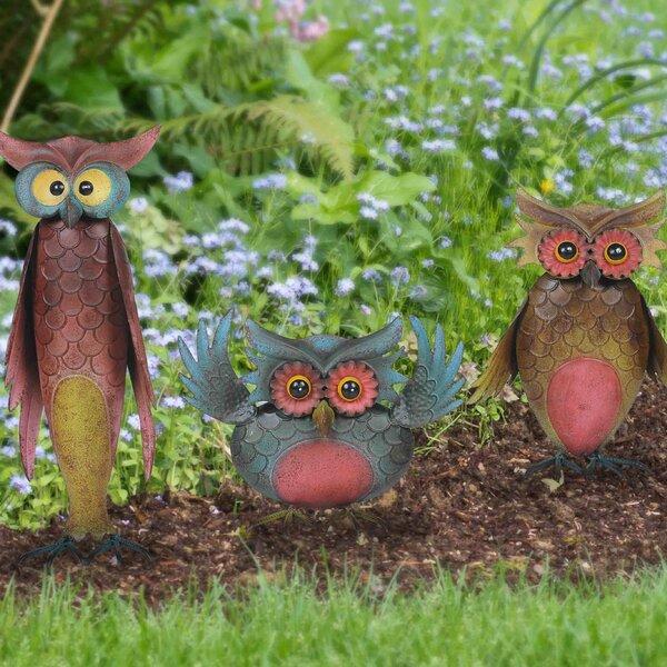 Sunjoy Whimsical 3 Piece Owl Garden Statue Set U0026 Reviews   Wayfair