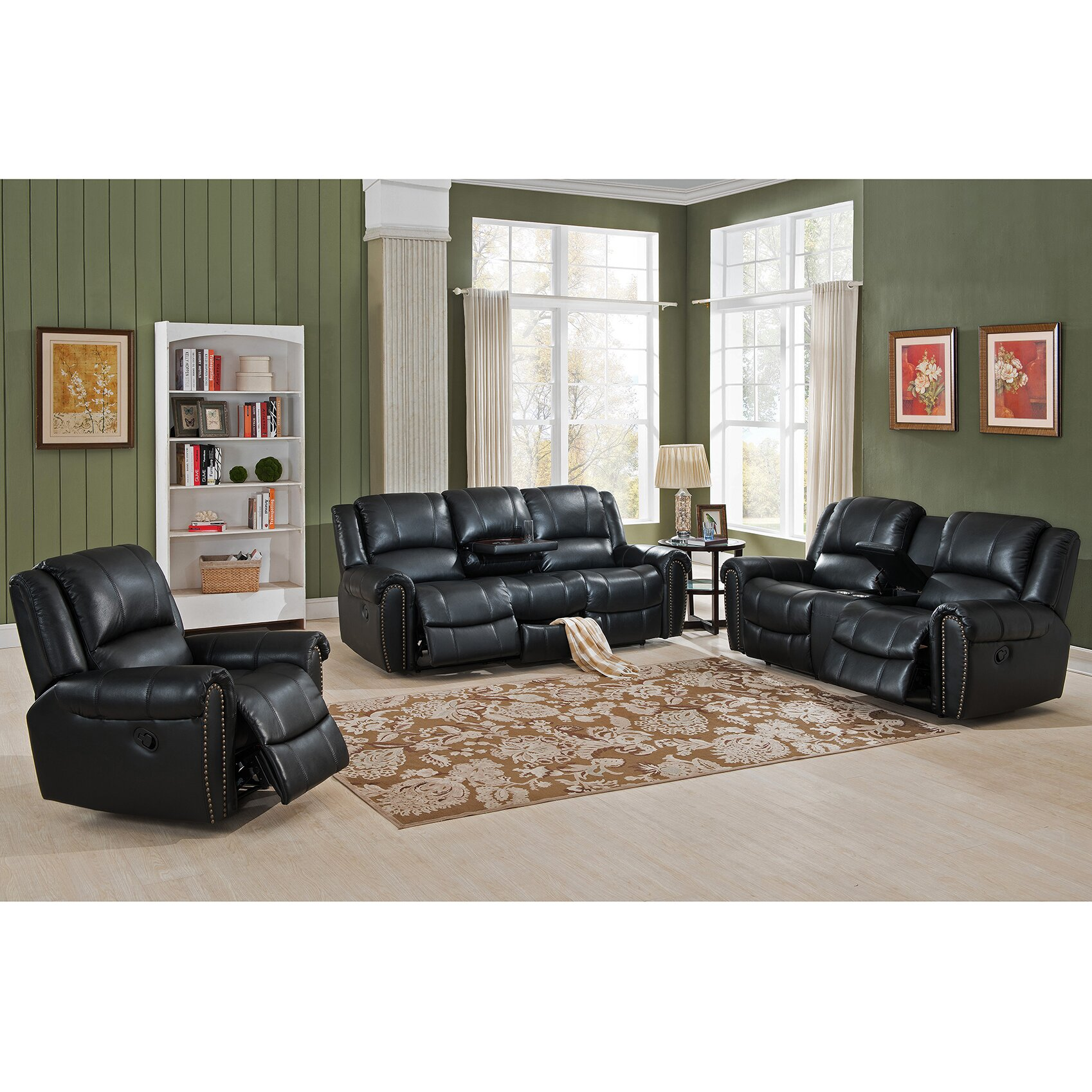Amax houston 3 piece leather recliner living room set for Three piece leather living room set