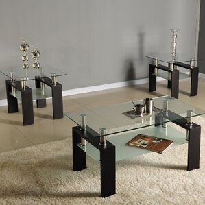 glass coffee table sets you'll love | wayfair