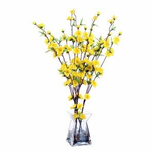 Faux Forsythias Arrangement in Glass Vase