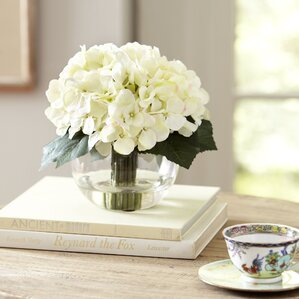 Faux Cream Hydrangeas in Glass Vase