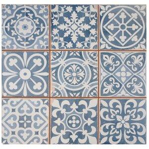 "Mamie Ceramic 13"" x 13"" Tile in Blue"