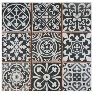 "Melanie Ceramic 13"" x 13"" Tile in Black"