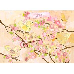 Personalized Cherry Blossom Birdies Butter Cream Canvas Art
