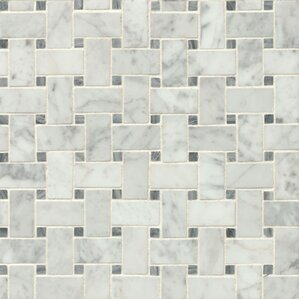 "Harrower 12"" x 12"" Marble Mosaic Tile in White & Gray"