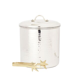 3 Qt. Stainless Steel Ice Bucket with Liner & Tongs