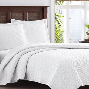 Tommy Bahama Solid Chevron Reversible Coverlet Set