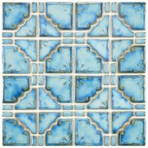 "Levelland 2.85"" x 2.85"" Porcelain Mosaic Tile in Diva Blue"