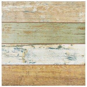 """Pacifica 17.75"""" x 17.75"""" Ceramic Wood Look Tile in Brown/Beige"""
