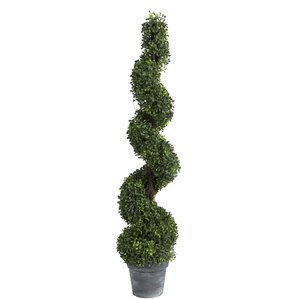 Faux Spiral Boxwood Topiary in Planter