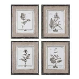 4-Piece Casual Gray Framed Print Set