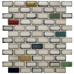 "Lillian 0.91"" x 1.89"" Porcelain Mosaic Tile in Cascade"
