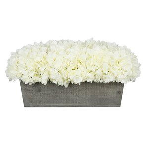 Faux Hydrangea in Grey-Washed Wood Box