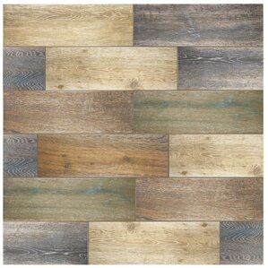 "Alcazar 23.63"" x 7.88"" Ceramic Wood Tile in Antic"