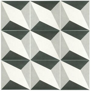 """Forcier 7.75"""" x 7.75"""" Ceramic Floor and Wall Tile in Diamond White and Gray"""