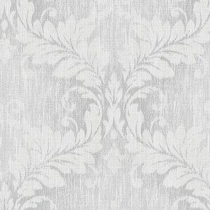 """Viola 32.7' x 20.5"""" Woven Damask Wallpaper"""