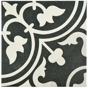 "Arya 9.75"" x 9.75"" Porcelain Field Tile in Black"