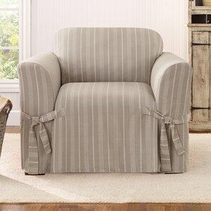 Grain Sack Stripe Box Cushion Arm Chair Slipcover  by Sure Fit