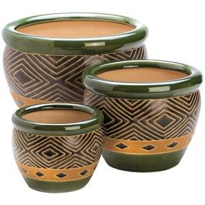 3-Piece Adobo Ceramic Pot Planter Set