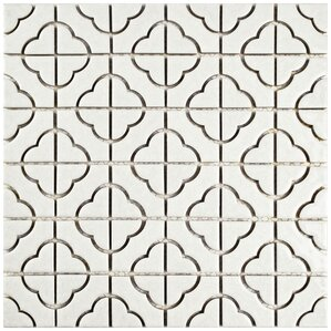 Anglia Random Sized Porcelain Mosaic Tile in White