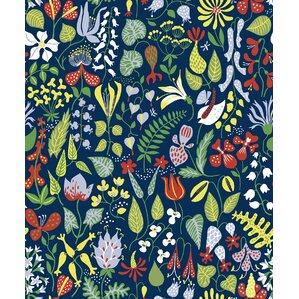 "Garrison 33' x 20.9"" Herbarium Floral Motif Wallpaper"