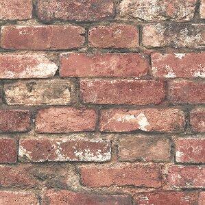 "Medina 33' x 20.5"" Brick Wallpaper Roll"