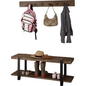 2-Piece Samantha Reclaimed Birch Wood Wall Rack & Bench Set