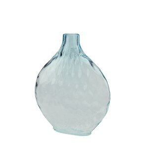 Disc Shaped Ombré Hand Blown Glass Vase