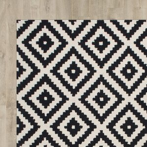 Kelly Black & Cream Geometric Wool Hand-Tufted Area Rug